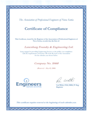 APENS Certificate of Compliance